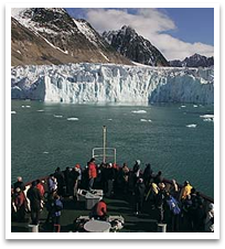 View of glacier from cruise ship.