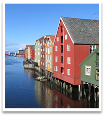 Trondheim - buildings on the river.